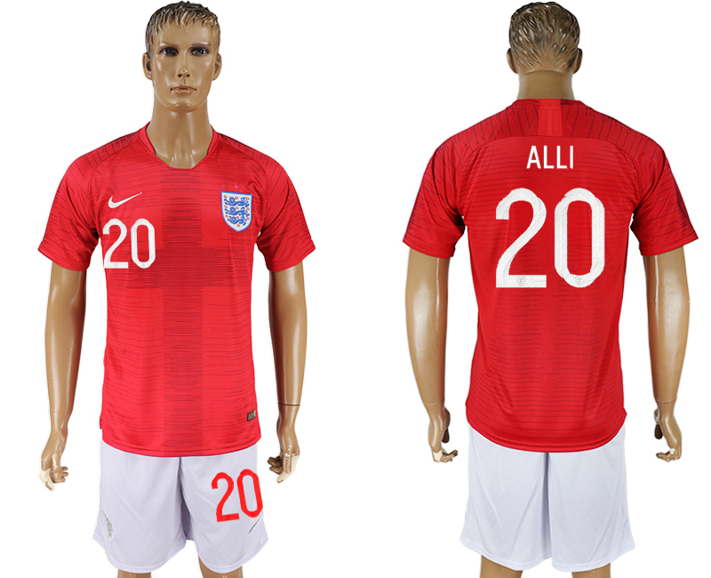 Men 2018 World Cup England away 20 red soccer jerseys
