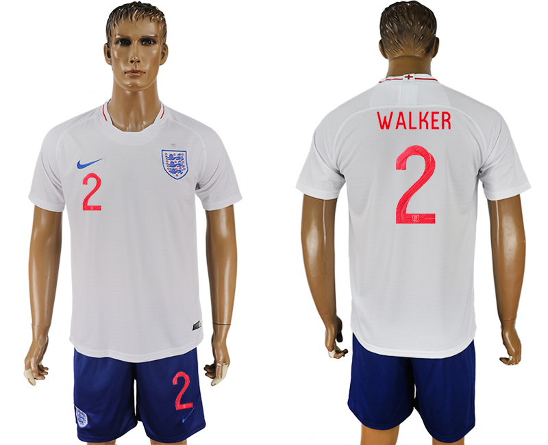 Men 2018 World Cup England home 2 white soccer jerseys