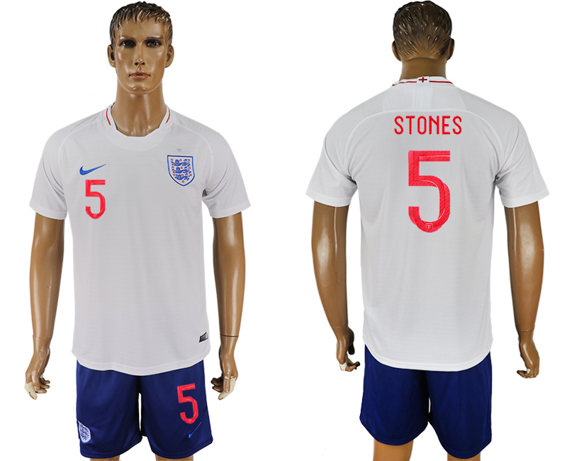 Men 2018 World Cup England home 5 white soccer jerseys