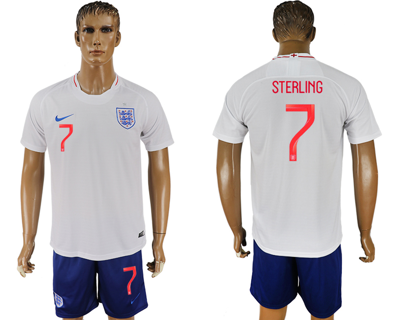 Men 2018 World Cup England home 7 white soccer jerseys