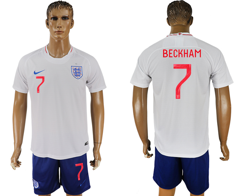 Men 2018 World Cup England home 7 white soccer jerseys1