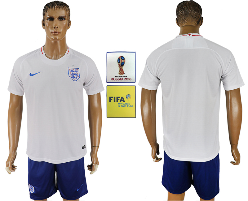 Men 2018 World Cup England home blank white soccer jerseys