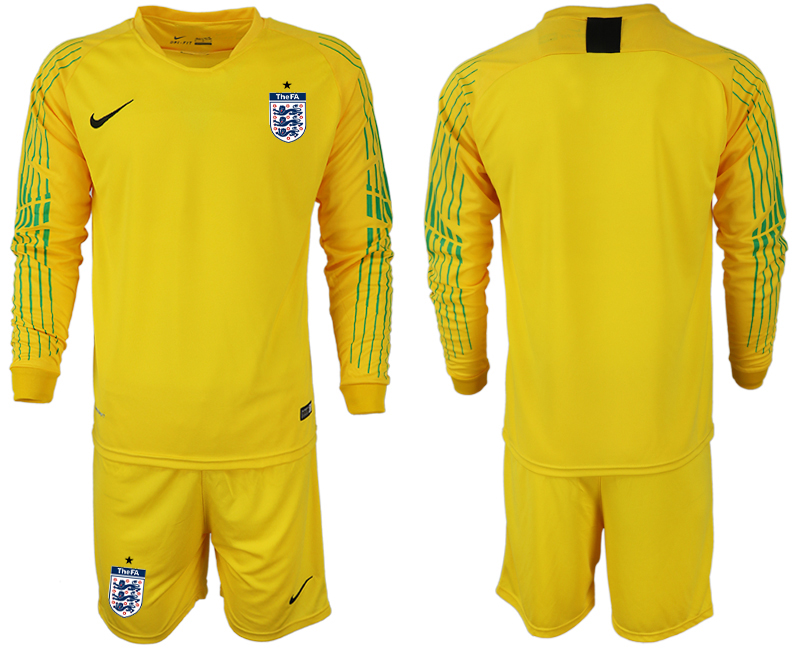 Men 2018 World Cup England yellow goalkeeper long sleeve soccer jerseys