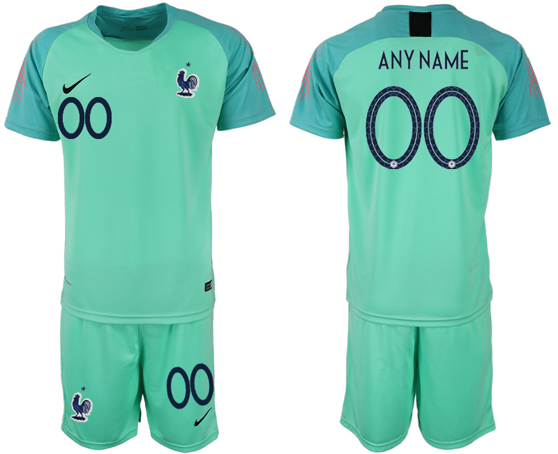 Men 2018 World Cup France green goalkeeper customized soccer jerseys