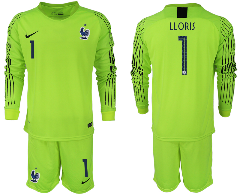 Men 2018 World Cup Francefluorescent green long sleeve goalkeeper 1 soccer jerseys