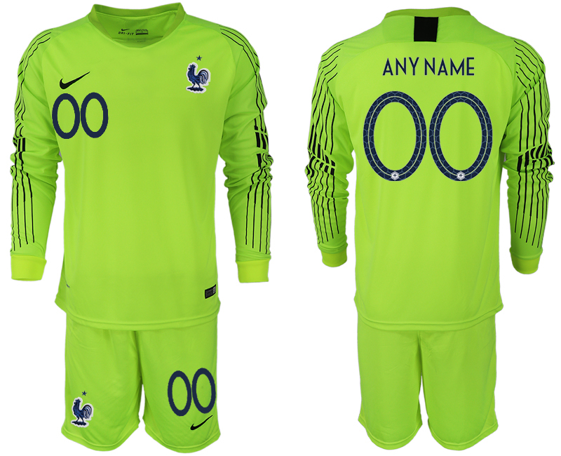 Men 2018 World Cup Francefluorescent green long sleeve goalkeeper customized soccer jerseys