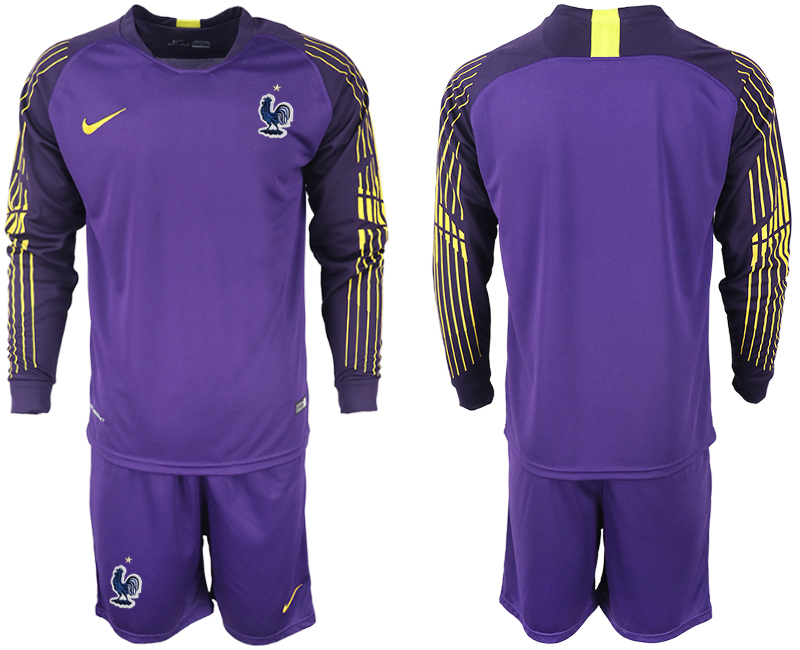 Men 2018 World Cup French violet goalkeeper long sleeve soccer jerseys