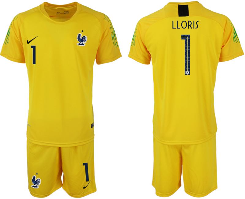 Men 2018 World Cup French yellow goalkeeper 1 soccer jerseys