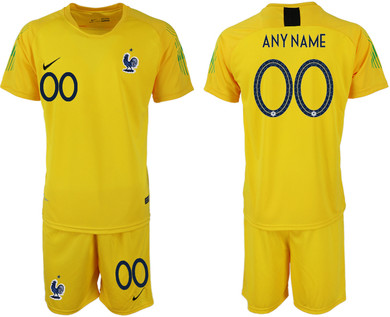 Men 2018 World Cup French yellow goalkeeper customized soccer jerseys