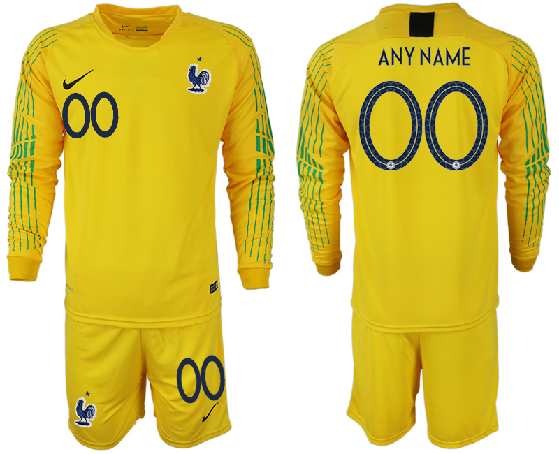 Men 2018 World Cup French yellow goalkeeper long sleeve customized soccer jerseys