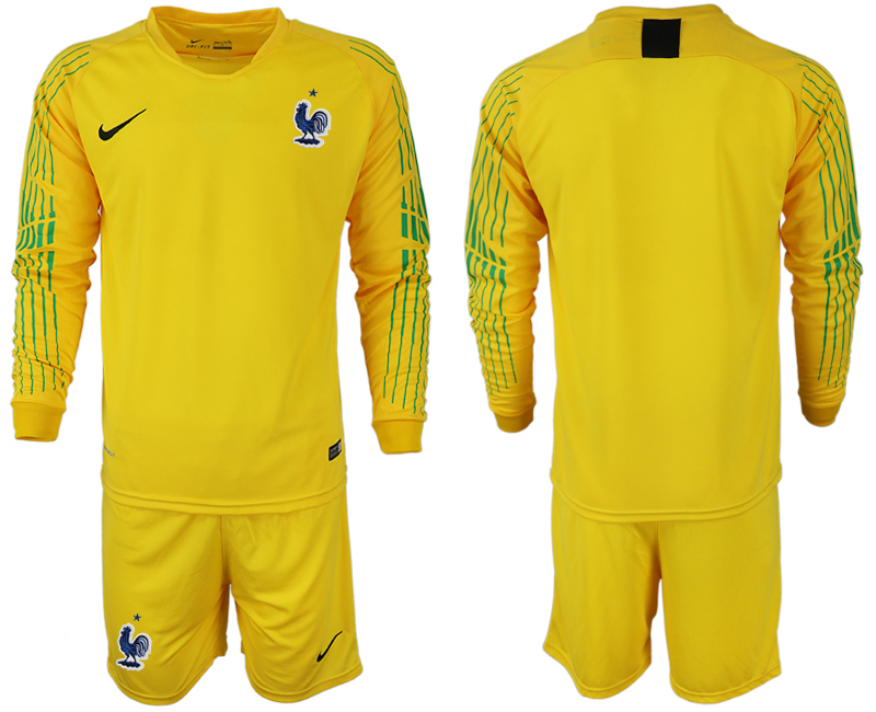 Men 2018 World Cup French yellow goalkeeper long sleeve soccer jerseys