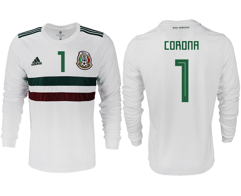 Men 2018 World Cup Mexico away long sleeve aaa version 1 white soccer jersey
