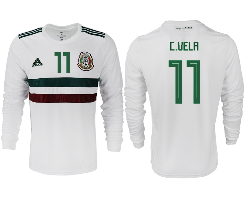Men 2018 World Cup Mexico away long sleeve aaa version 11 white soccer jersey
