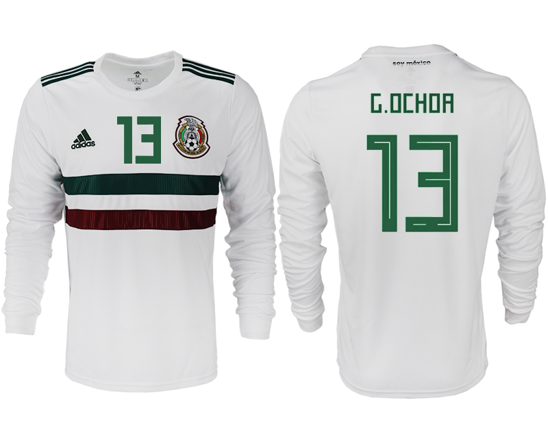 Men 2018 World Cup Mexico away long sleeve aaa version 13 white soccer jersey