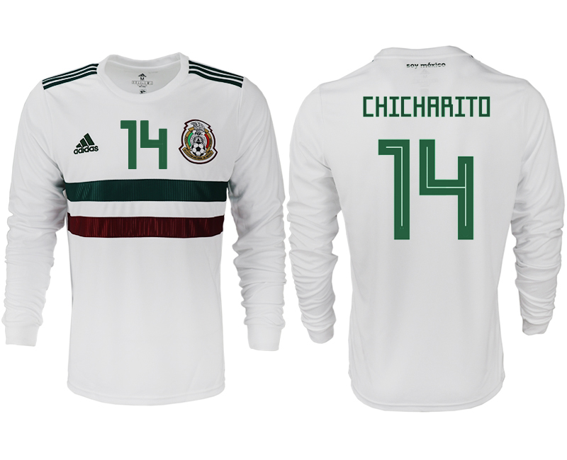 Men 2018 World Cup Mexico away long sleeve aaa version 14 white soccer jersey1