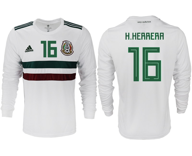 Men 2018 World Cup Mexico away long sleeve aaa version 16 white soccer jersey