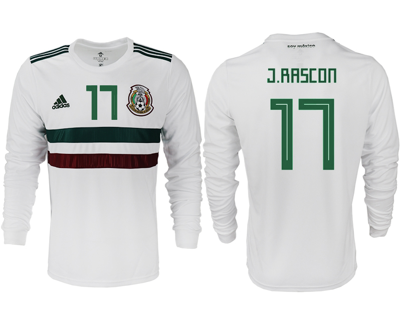 Men 2018 World Cup Mexico away long sleeve aaa version 17 white soccer jersey