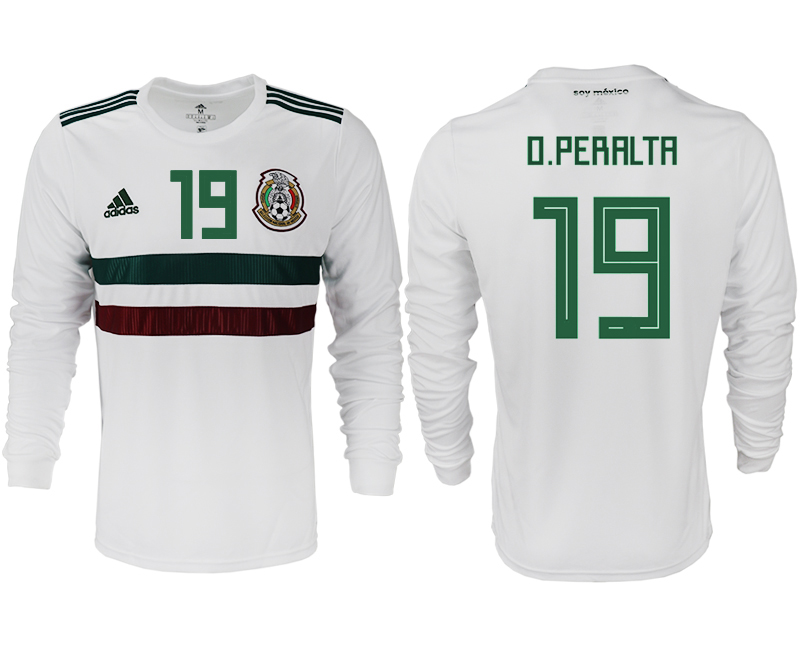 Men 2018 World Cup Mexico away long sleeve aaa version 19 white soccer jersey