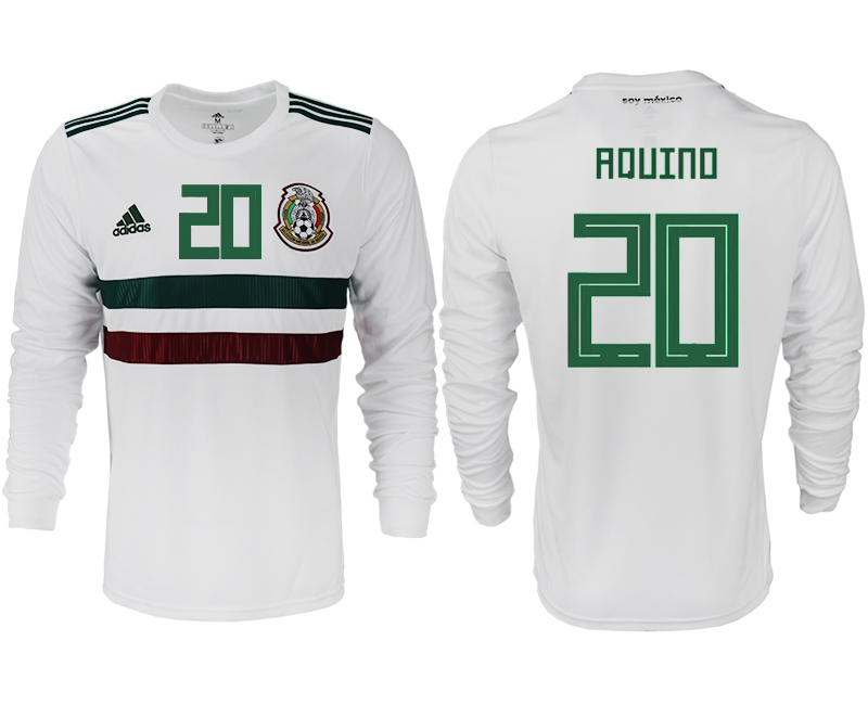 Men 2018 World Cup Mexico away long sleeve aaa version 20 white soccer jersey
