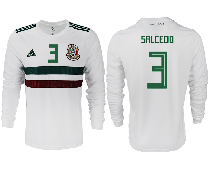Men 2018 World Cup Mexico away long sleeve aaa version 3 white soccer jersey