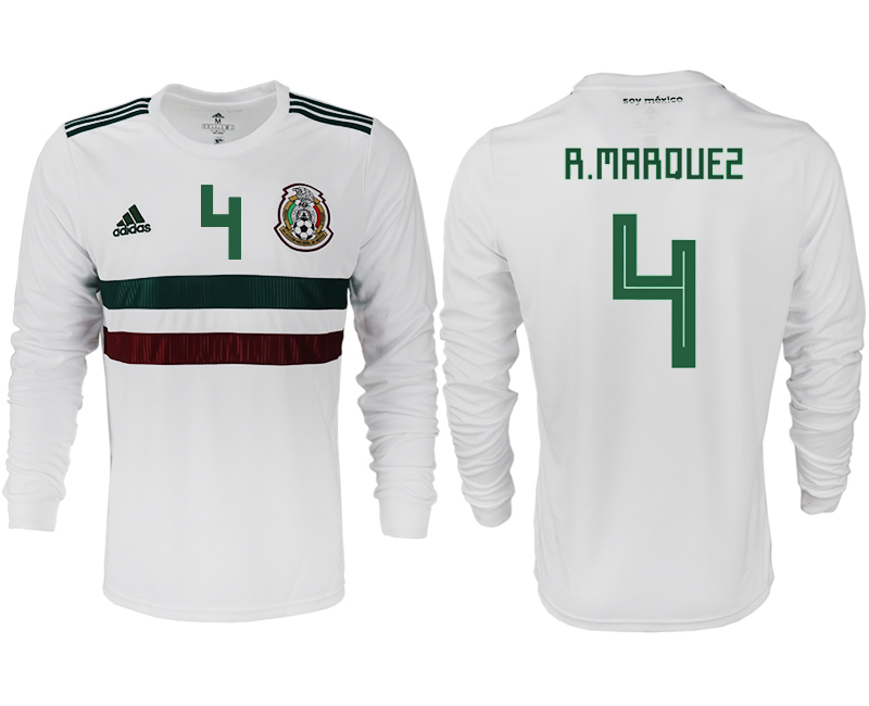 Men 2018 World Cup Mexico away long sleeve aaa version 4 white soccer jersey