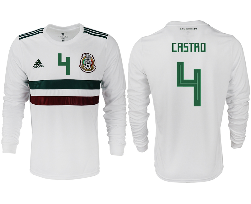 Men 2018 World Cup Mexico away long sleeve aaa version 4 white soccer jersey1