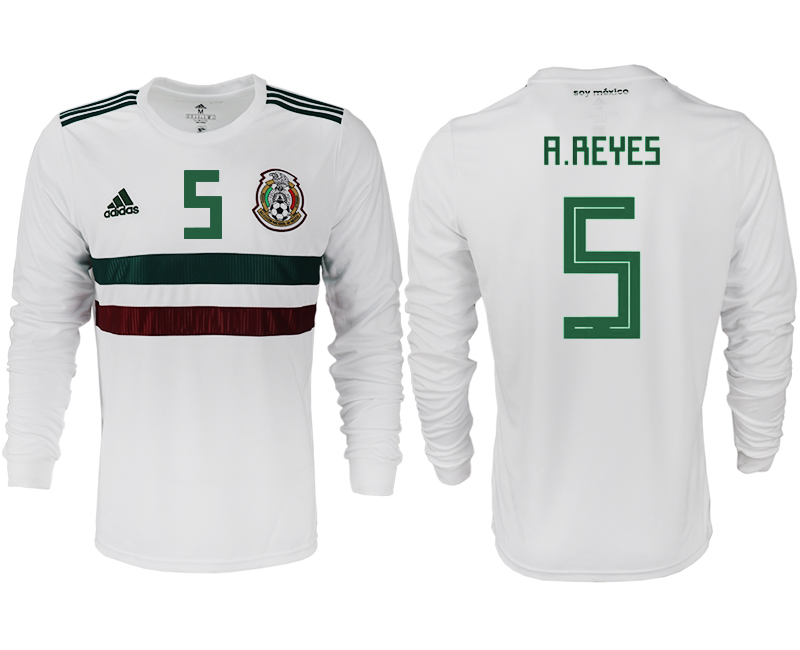 Men 2018 World Cup Mexico away long sleeve aaa version 5 white soccer jersey