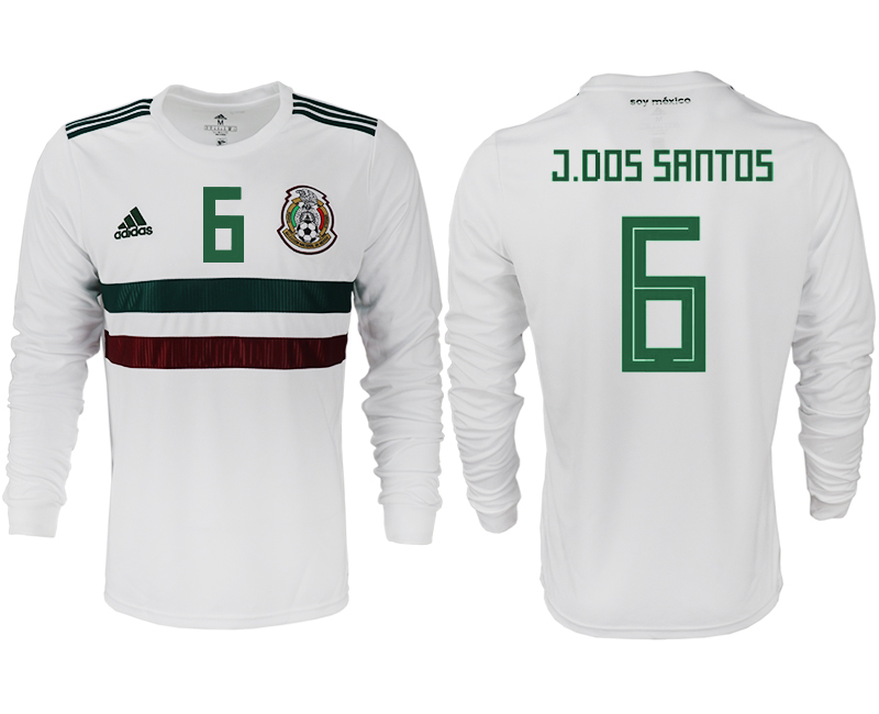 Men 2018 World Cup Mexico away long sleeve aaa version 6 white soccer jersey