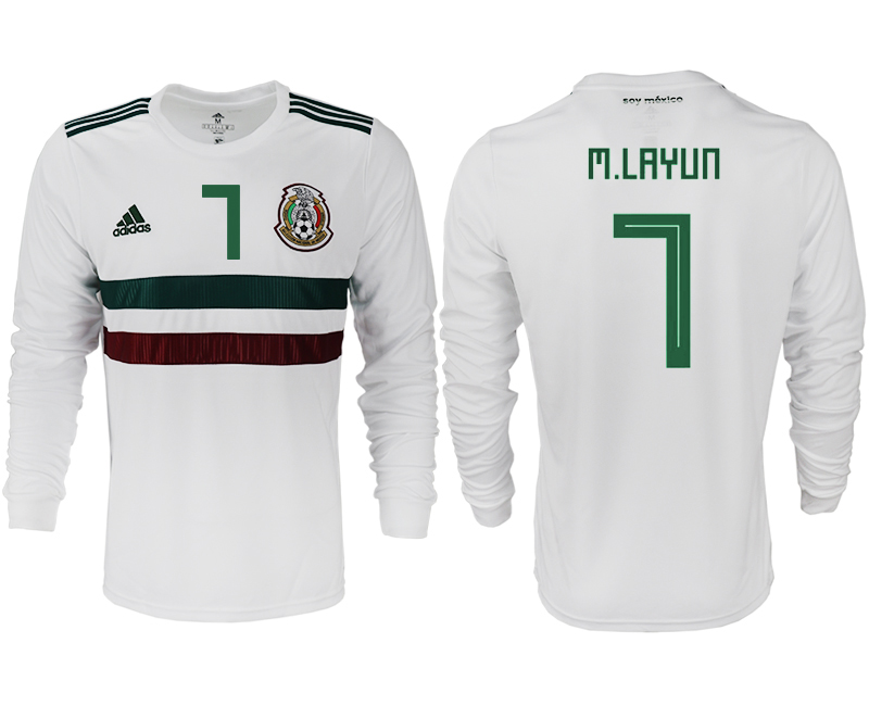 Men 2018 World Cup Mexico away long sleeve aaa version 7 white soccer jersey