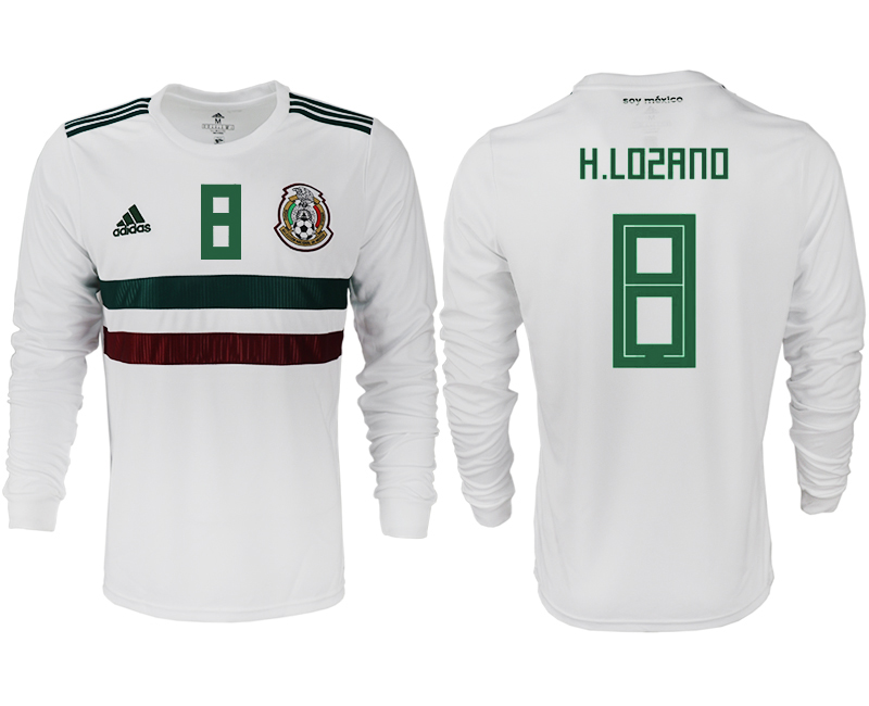 Men 2018 World Cup Mexico away long sleeve aaa version 8 white soccer jersey