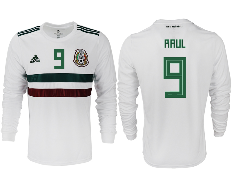 Men 2018 World Cup Mexico away long sleeve aaa version 9 white soccer jersey