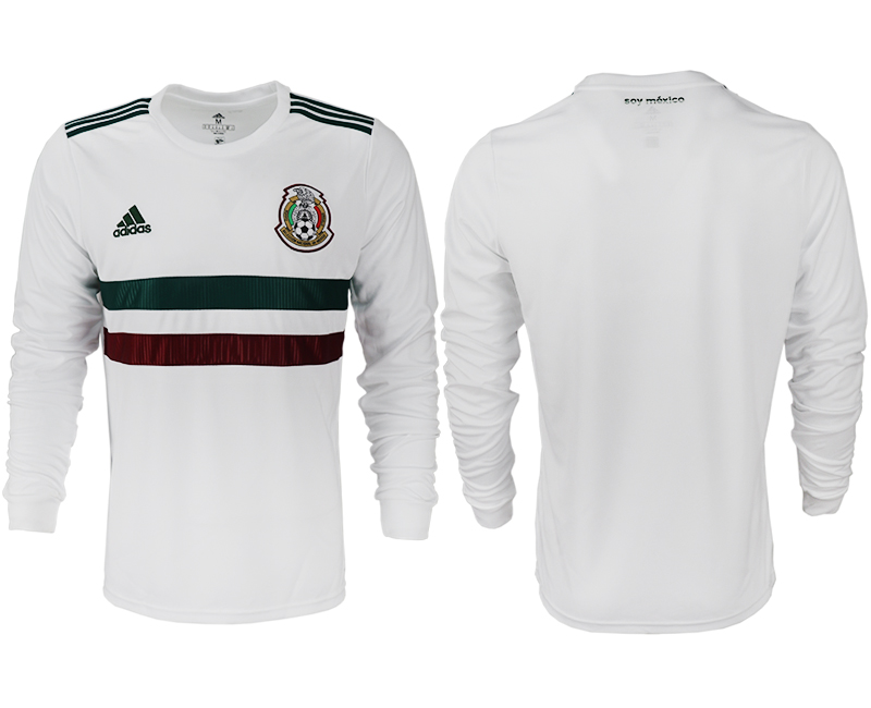 Men 2018 World Cup Mexico away long sleeve aaa version blank white soccer jersey