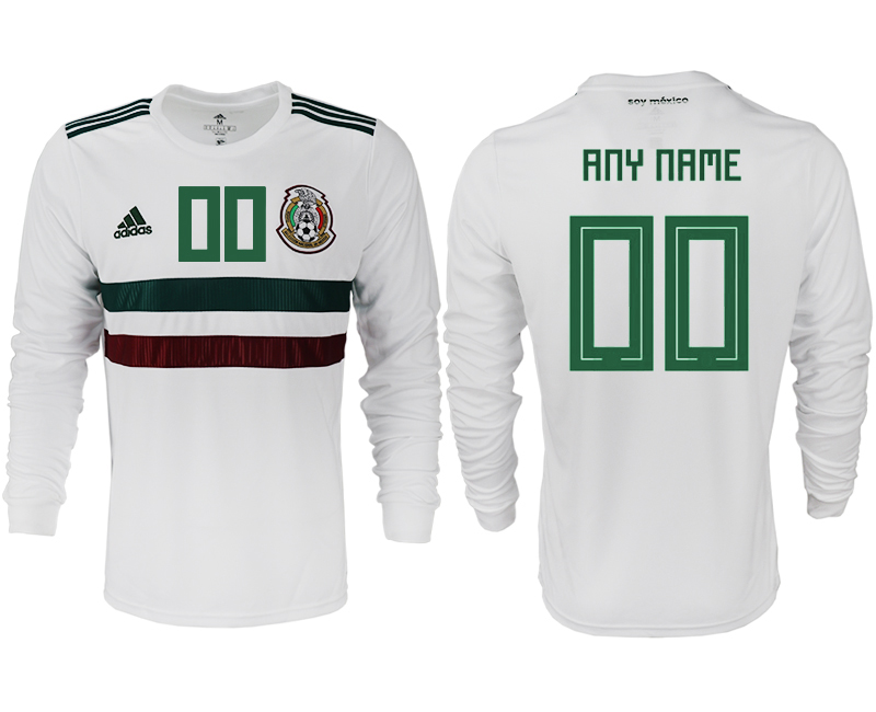 Men 2018 World Cup Mexico away long sleeve aaa version customized white soccer jersey
