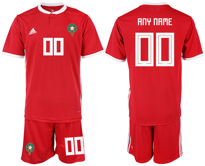 Men 2018 World Cup Morocco home customized red soccer jersey
