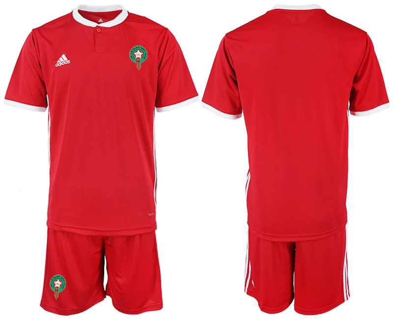 Men 2018 World Cup Morocco home red soccer jersey1