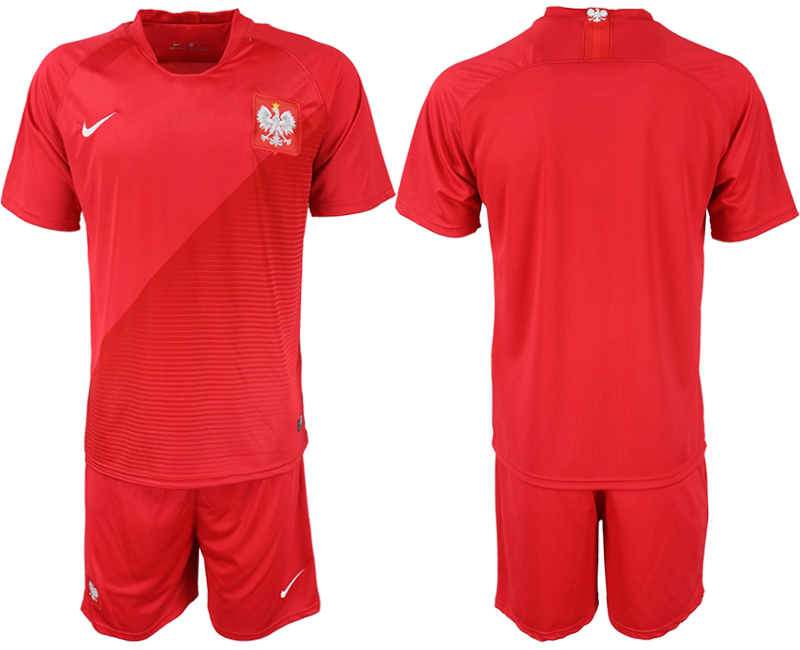 Men 2018 World Cup Poland away blank red soccer jerseys