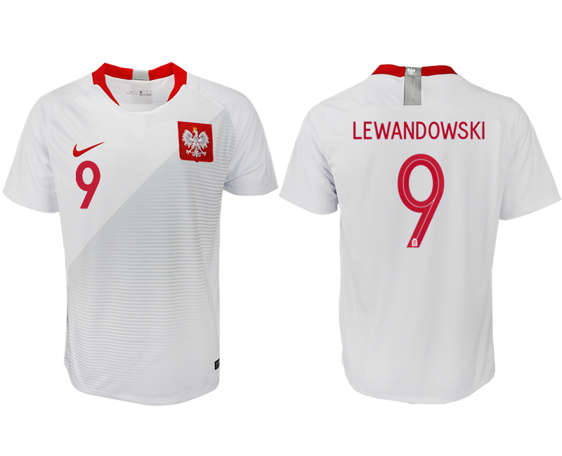 Men 2018 World Cup Poland home aaa version 9 white soccer jersey