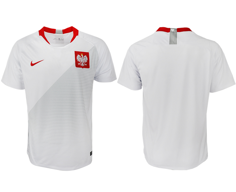 Men 2018 World Cup Poland home aaa version blank white soccer jersey