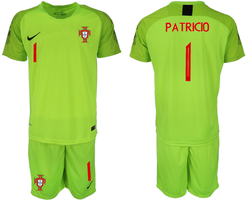 Men 2018 World Cup Portugal fluorescent green goalkeeper 1 soccer jerseys