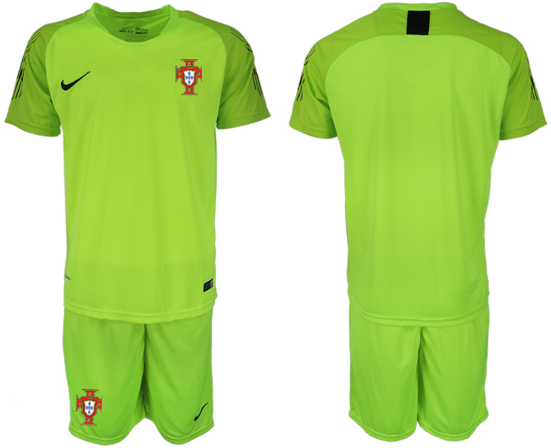 Men 2018 World Cup Portugal fluorescent green goalkeeper soccer jerseys
