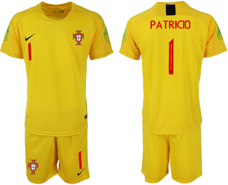 Men 2018 World Cup Portugal fluorescent yellow goalkeeper 1 soccer jerseys