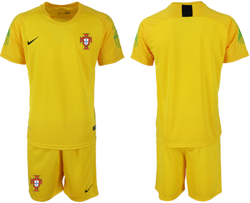 Men 2018 World Cup Portugal fluorescent yellow goalkeeper soccer jerseys