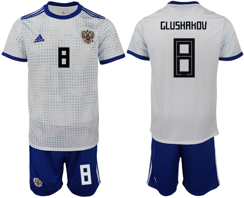 Men 2018 World Cup Russia away 8 white soccer jerseys