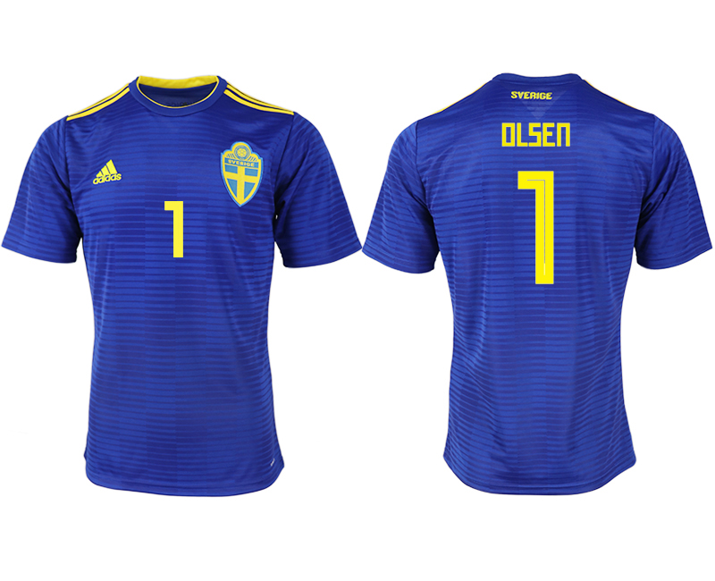 Men 2018 World Cup Sweden away aaa version 1 blue soccer jerseys