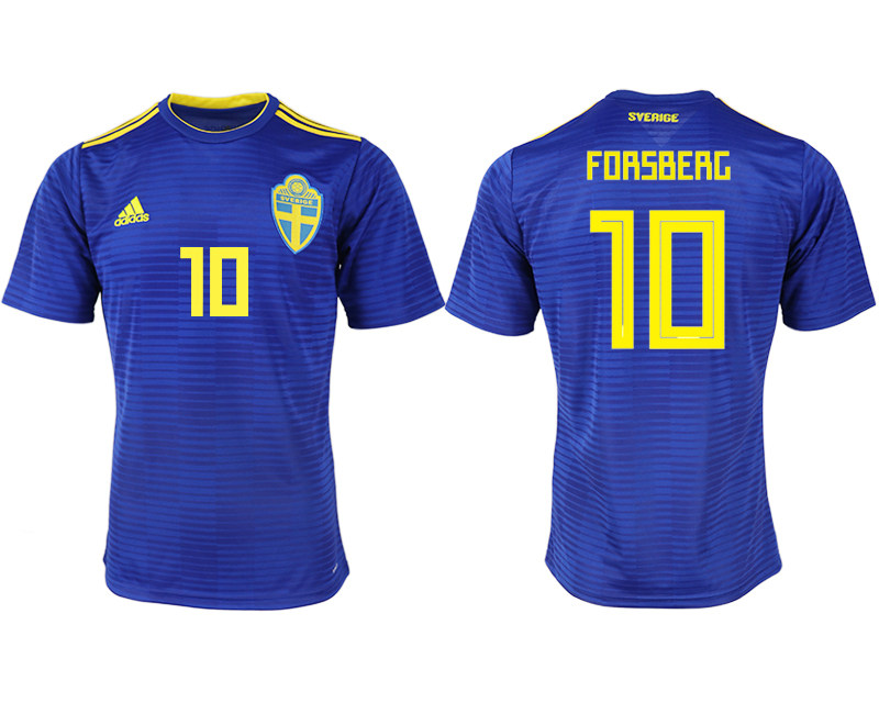 Men 2018 World Cup Sweden away aaa version 10 blue soccer jerseys