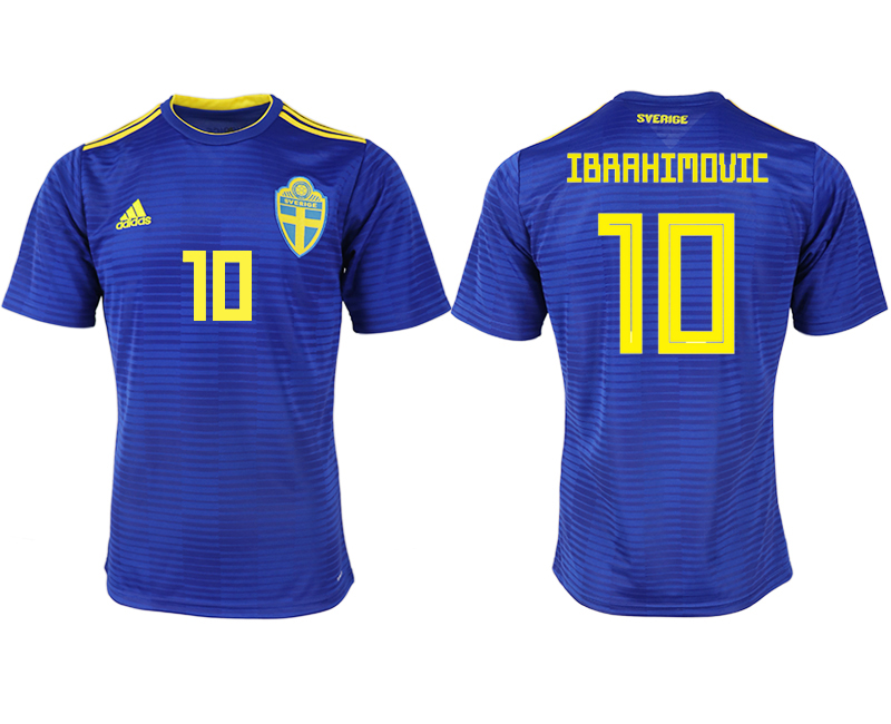 Men 2018 World Cup Sweden away aaa version 10 blue soccer jerseys1