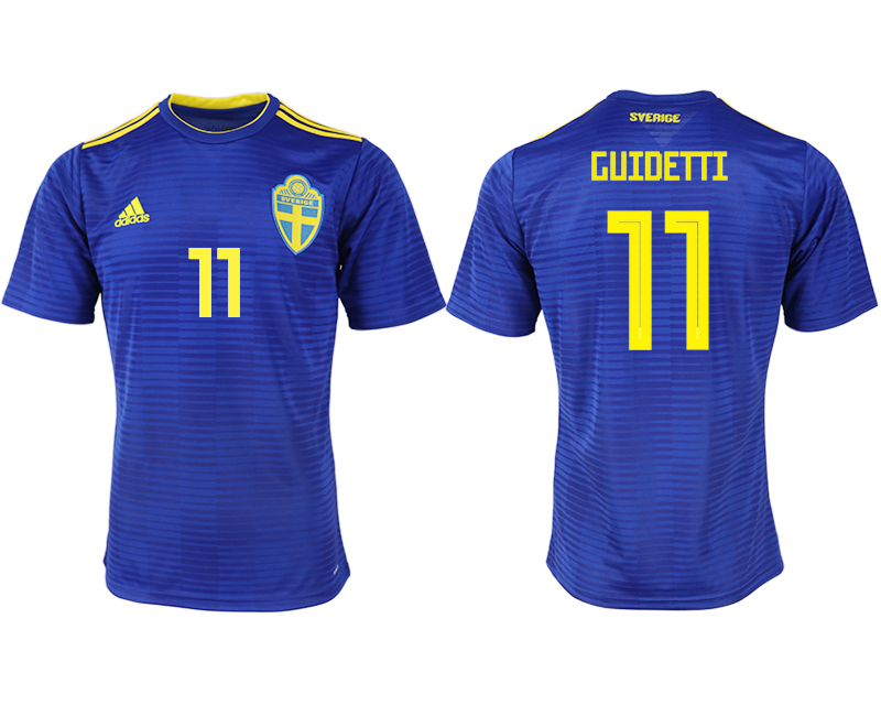 Men 2018 World Cup Sweden away aaa version 11 blue soccer jerseys