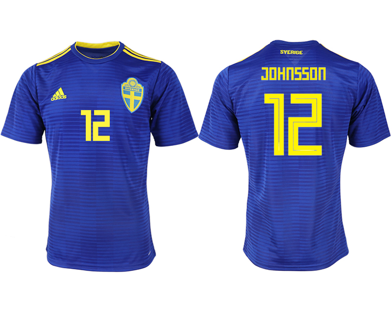 Men 2018 World Cup Sweden away aaa version 12 blue soccer jerseys