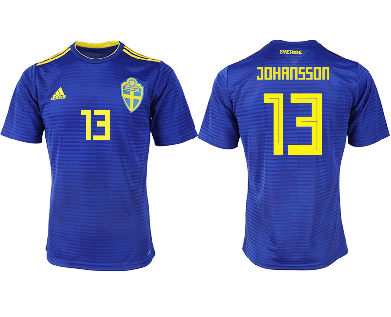 Men 2018 World Cup Sweden away aaa version 13 blue soccer jerseys