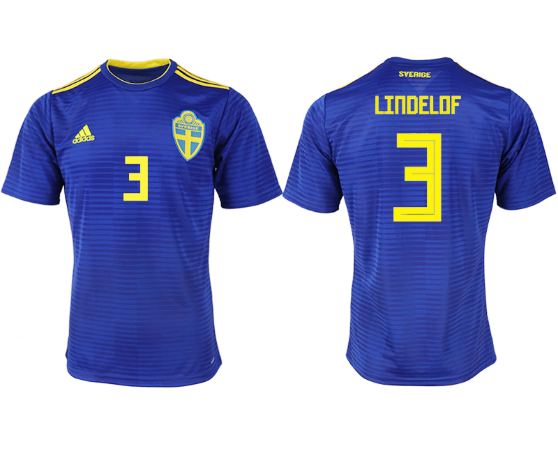 Men 2018 World Cup Sweden away aaa version 3 blue soccer jerseys